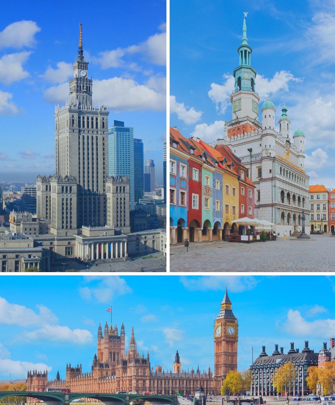Zdjęcie przedstawia budynki będące symbolami trzech miast - Warszawy, Poznania i Londynu.